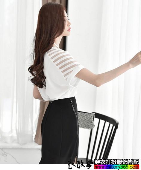网纱条纹雪纺衫