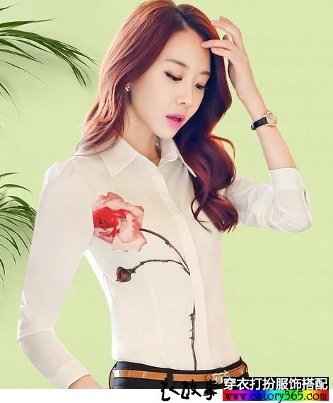 玫瑰印花雪纺衬衫