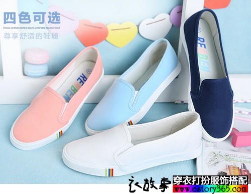 平底纯色帆布鞋