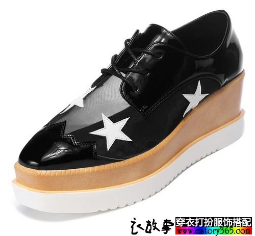 星星印花高跟厚底鞋