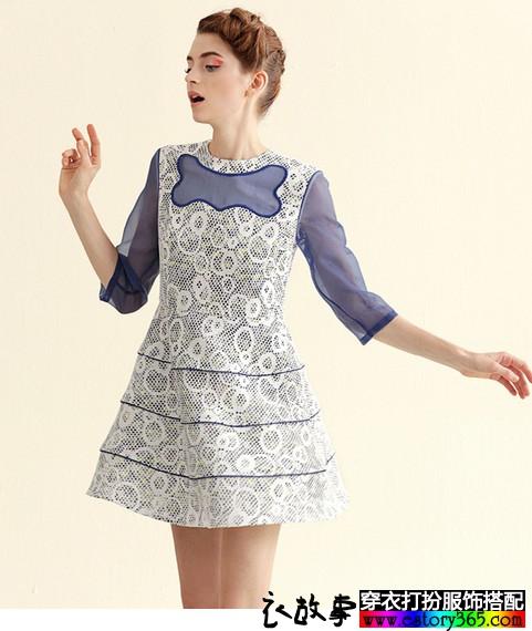 蕾丝拼接七分袖连衣裙