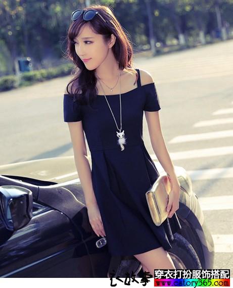 一字领纯色连衣裙