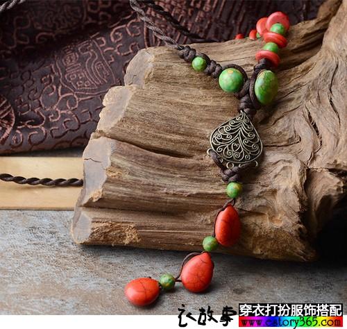 红松石中长毛衣链