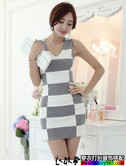灰白条纹针织背心裙