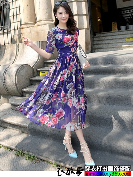 波西米亚显瘦雪纺裙