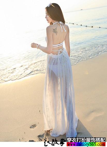 性感露背薄透沙滩裙