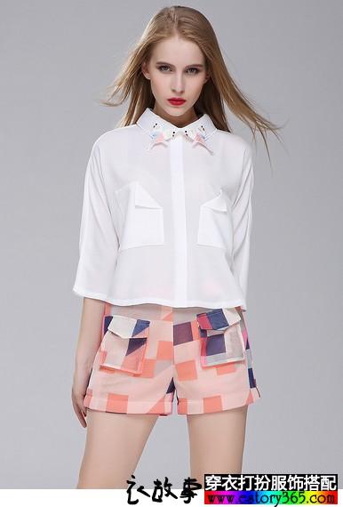 绣花领七分袖衬衫