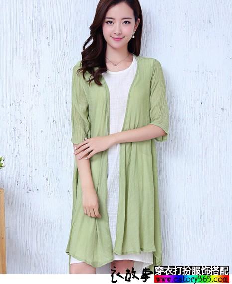 纯色显瘦棉麻连衣裙