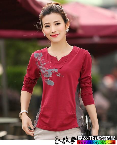 中国风印花打底小衫
