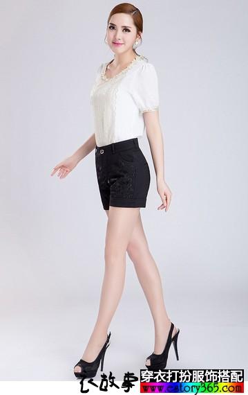 蕾丝镶钻高腰短裤