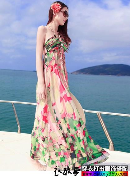 真丝印花吊带沙滩裙