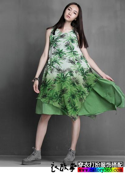 热带印花不规则裙摆连衣裙