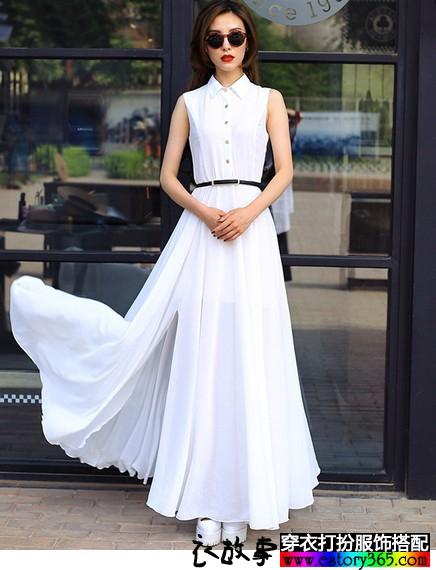 无袖长款连衣裙