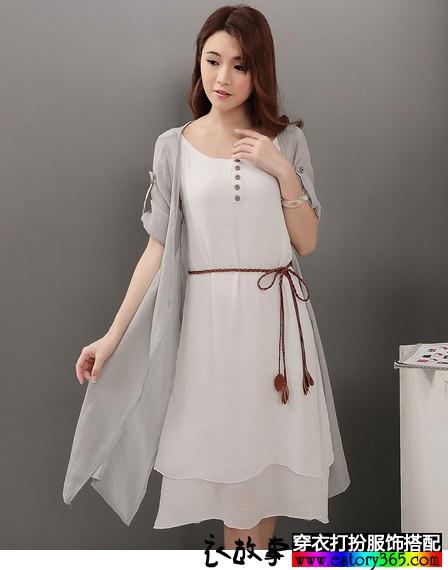 七分袖棉麻连衣裙两件套