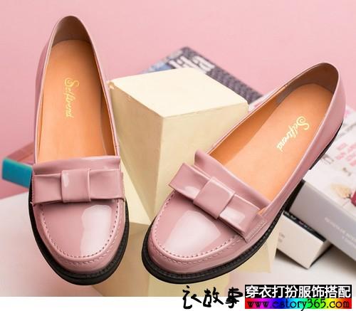 蝴蝶结圆头平底单鞋