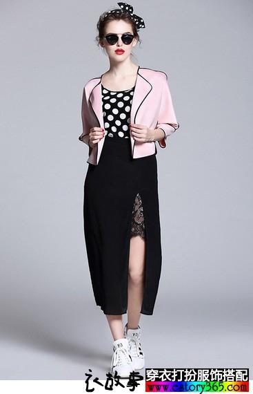 七分袖粉色开衫外套