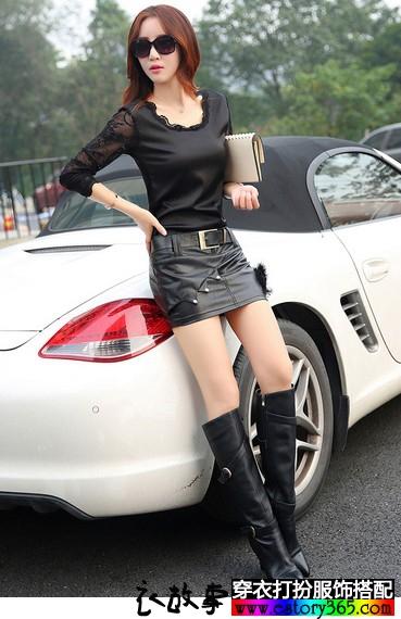 腰带柳钉字母装饰短皮裙