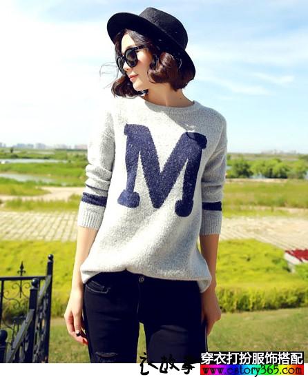 宽松字母中长款针织衫