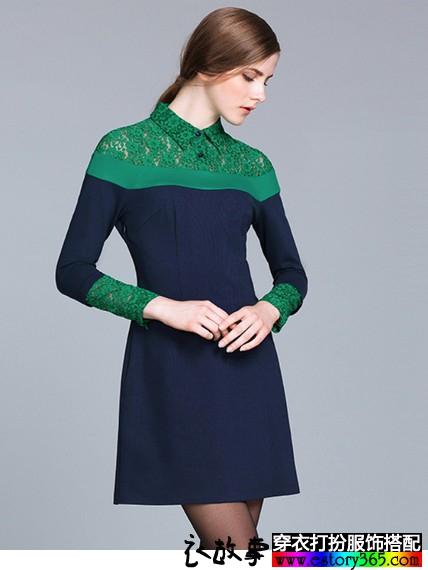 蕾丝拼接针织连衣裙