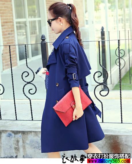 韩版收腰双排扣风衣外套