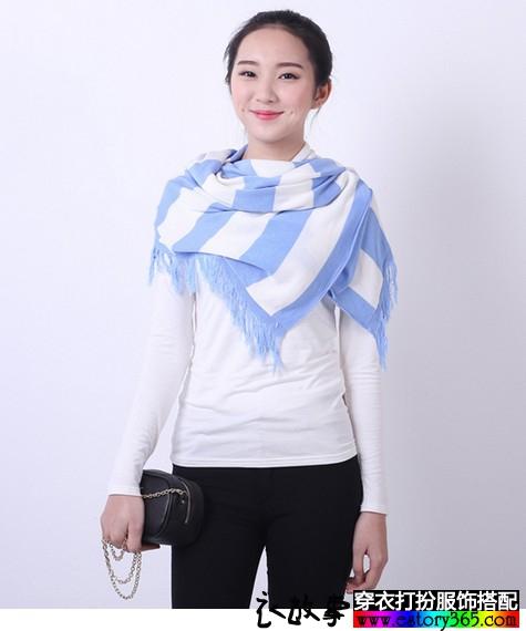 围巾空调衫流苏条纹马甲