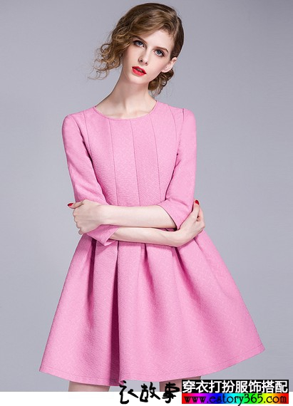 粉色高腰修身七分袖连衣裙