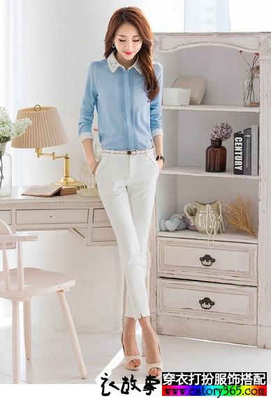 蓝色钉珠雪纺衬衫