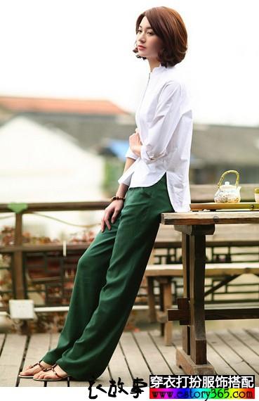 亚麻阔腿直筒长裤