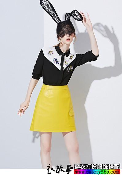 大口袋包臀半身皮裙