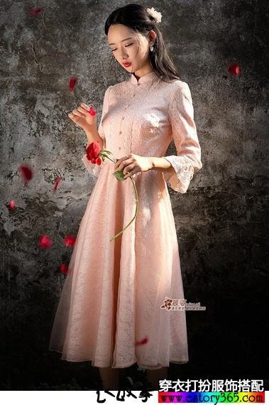 复古小立领蕾丝连衣裙