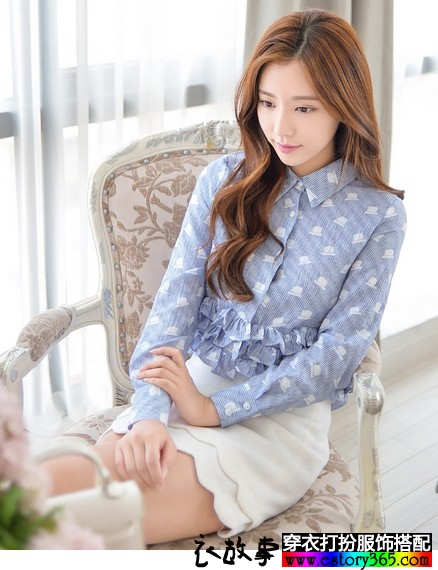 长袖印花淑女棉麻衫