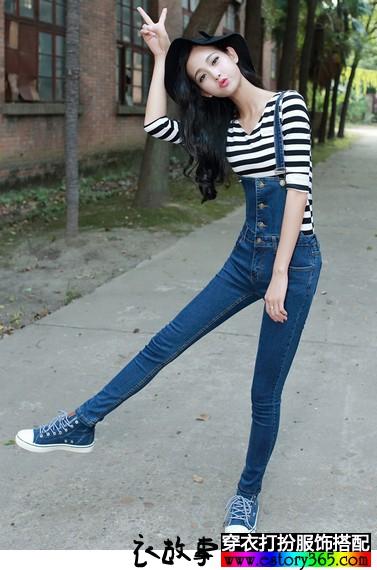 显瘦修身背带裤