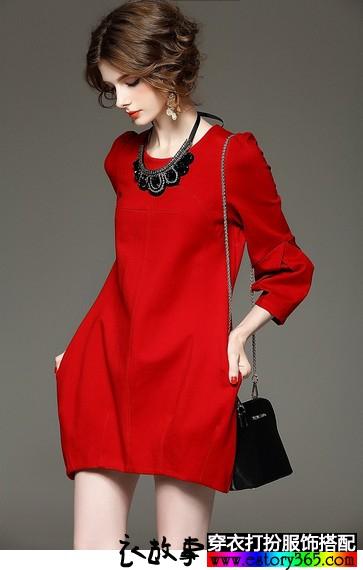 七分袖针织连衣裙