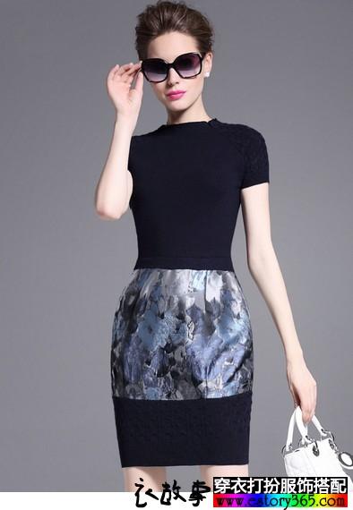 印花拼接短袖针织裙