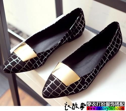 格纹平底尖头鞋