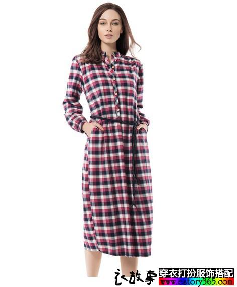 格纹长款系带睡裙