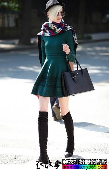 秋冬显瘦套头针织连衣裙