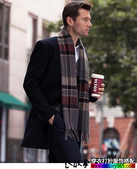 加厚羊绒英伦格子男士围巾