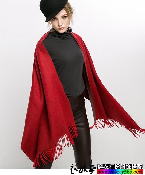 双面双色流苏羊绒大围巾