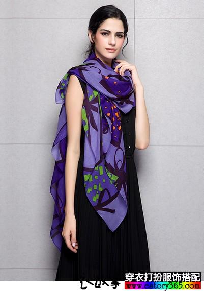 蝴蝶结印花羊毛真丝围巾