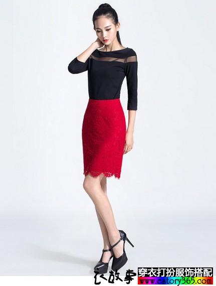 蕾丝镂空铅笔裙