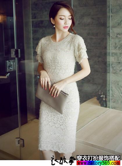 钩花短袖针织裙
