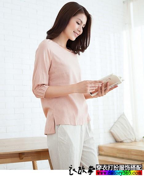 纯色棉麻圆领直筒T恤