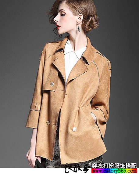 麂皮绒双排扣风衣短外套