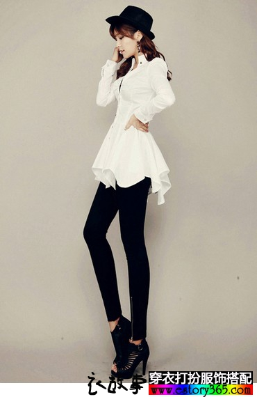 燕尾式衬衫领短裙