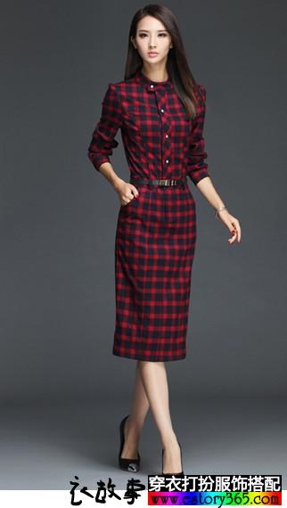 红黑腔调衬衣连衣裙