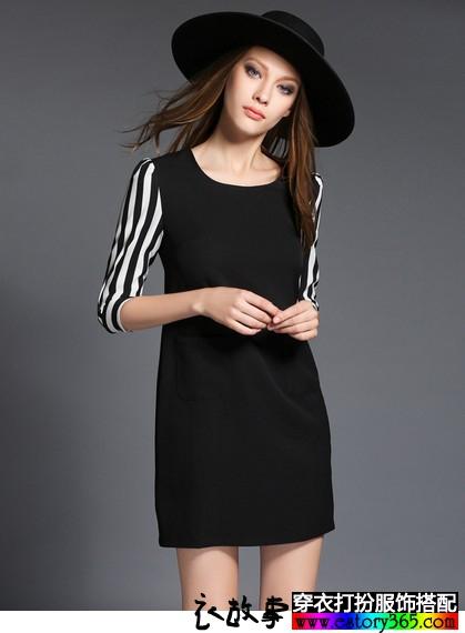 中袖条纹连衣裙
