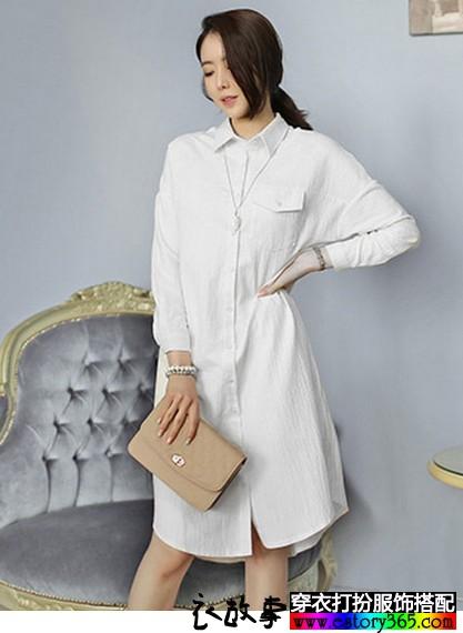 系带纯棉衬衫裙
