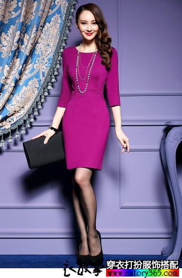 七分袖纯色职业连衣裙