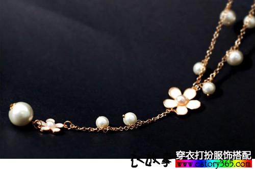 五瓣花珍珠毛衣链